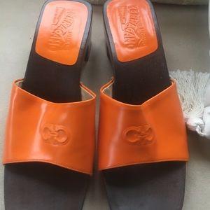 Size 7 1/2 Orange Ferragamo Sandals — $375
